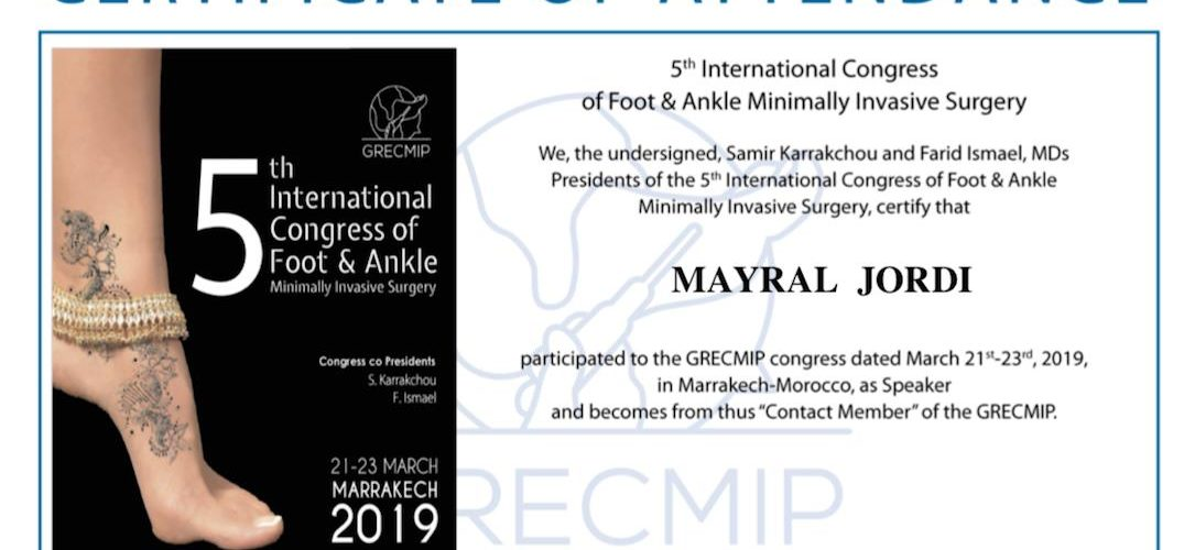 Certificado asistencia 5th International Congress of Foot & Ankle