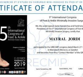 Certificado asistencia 5th International Congress of Foot & Ankle